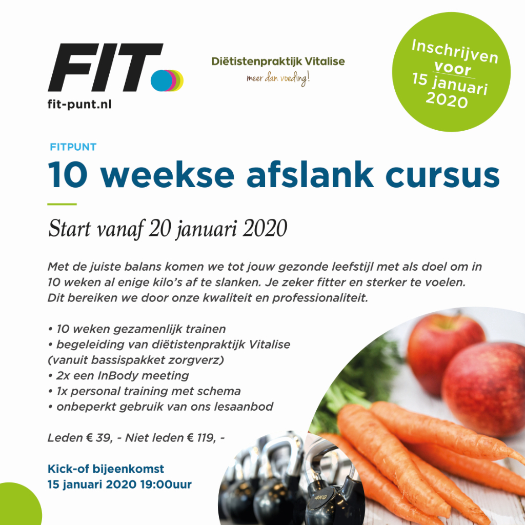 10-weekse afslankcursus – start 15 januari 2020