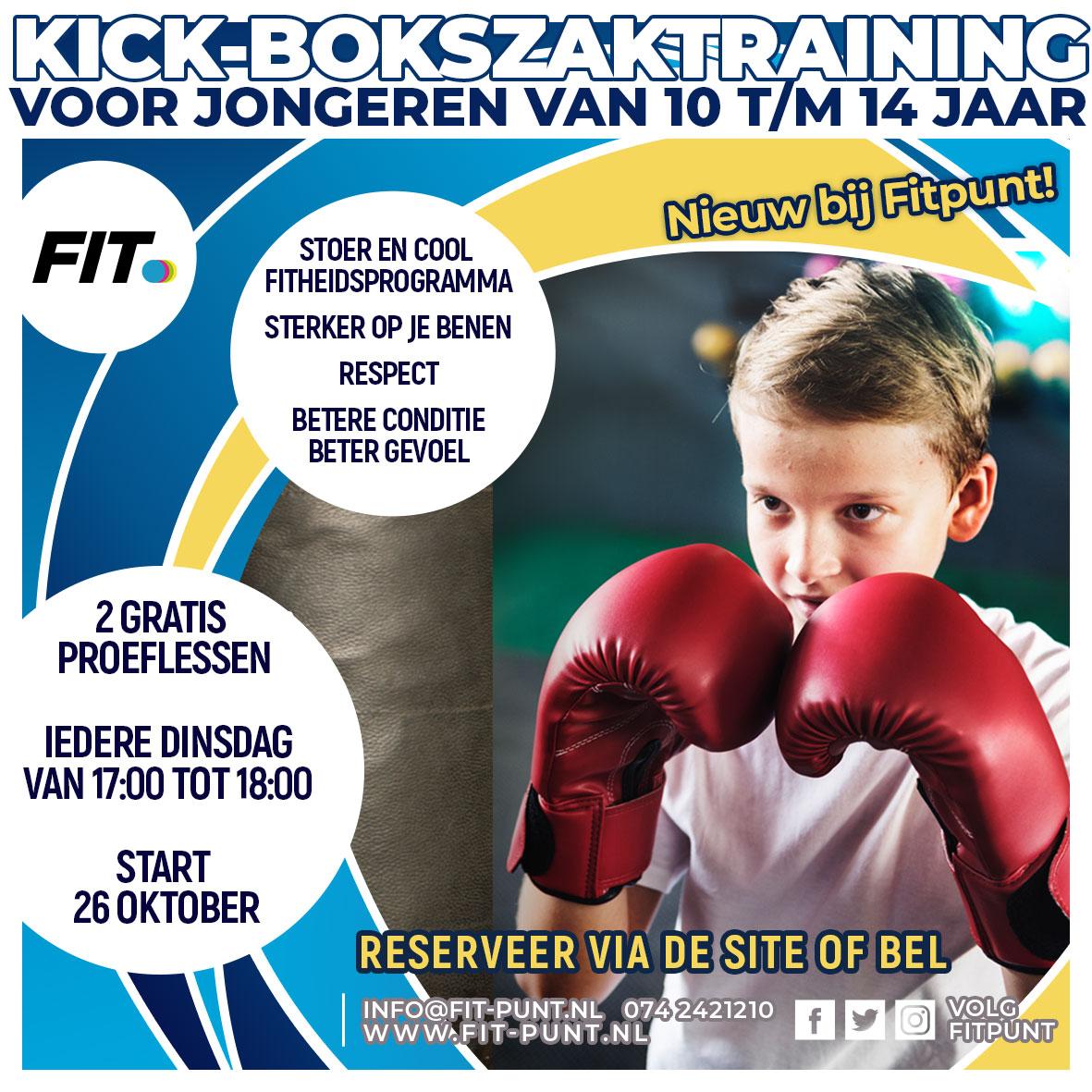 Bokszak- en kickbokstraining voor 10 - 14 jaar